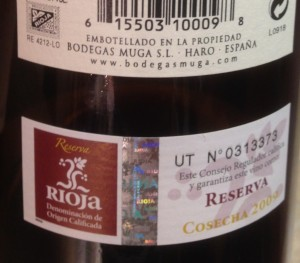 2009 Muga Reserva-back label