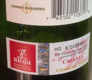 2009 Sierra Cantabria Crianza-back label