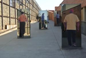 Outdoor exhibit at the Apartheid Museum