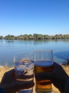 Gin and Tonic and a beer on safari in Zambia
