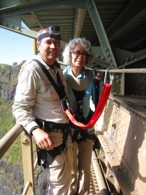 Us on the catwalk below the Victoria Falls Bridge