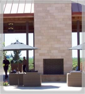 Fireplace in the courtyard Oak Farm Vineyards