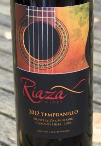 2012 Riaza Wines Hunter's Oak Vineyard Tempranillo