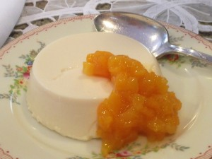Panna cotta with dried apricot compote