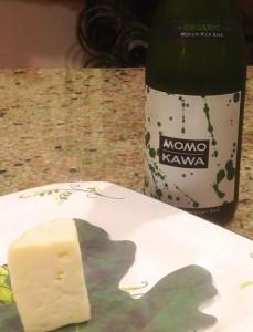 Momokawa Organic Junmai Ginjo and cheese