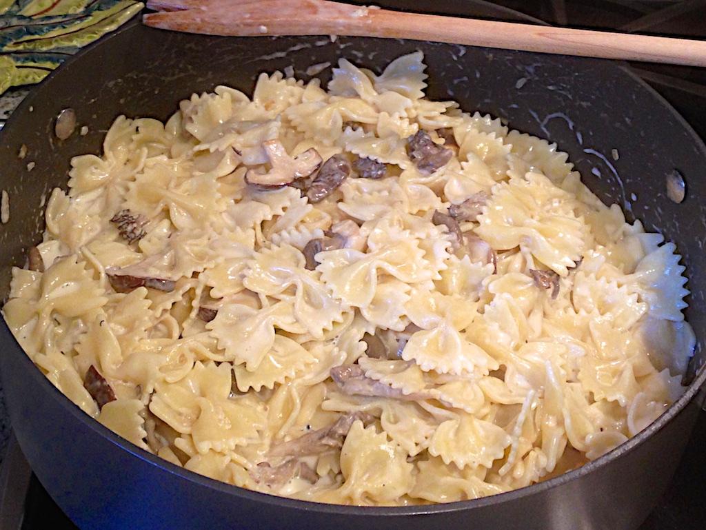 creamy mushroom pasta with spring peas and westrey pinot