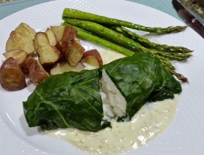 Chard wrapped halibut